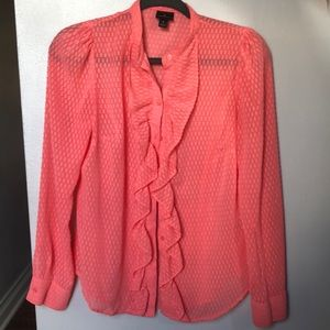 Salmon sheer blouse